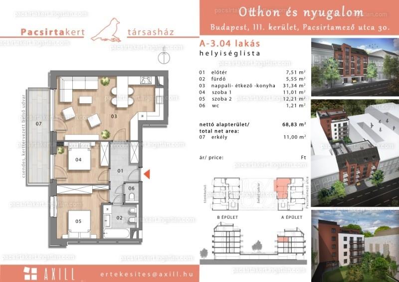 Pacsirtakert - 3 szoba erkéllyel