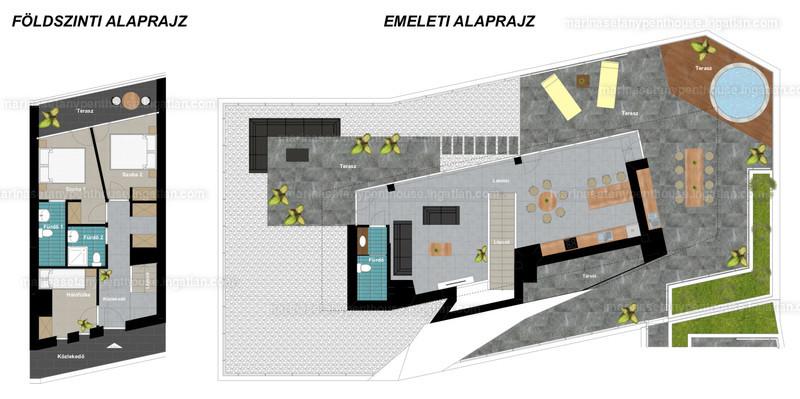 Marina Sétány Penthouse - 3 + 1 szoba erkéllyel