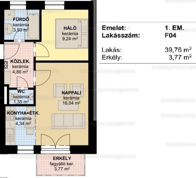 Levendula Parkváros Győr - 2 szoba erkéllyel