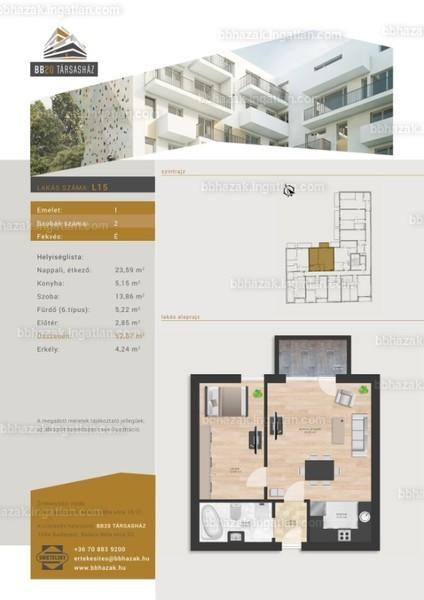 BB Házak - 2 szoba erkéllyel
