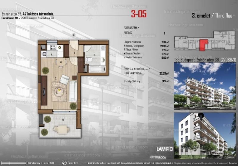 Írisz ház - 1 szoba erkéllyel