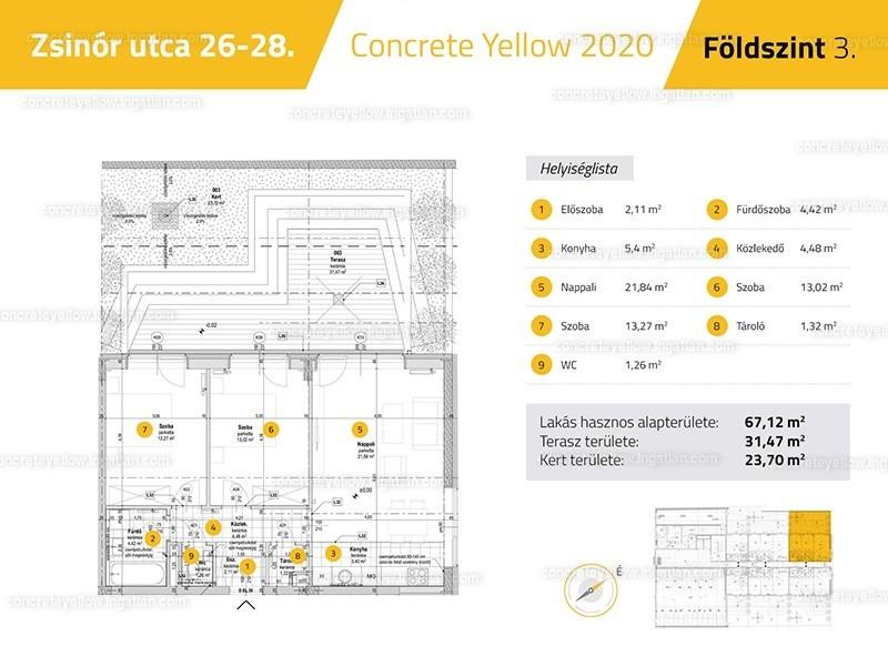 Concrete Yellow - 3 szoba kertkapcsolattal