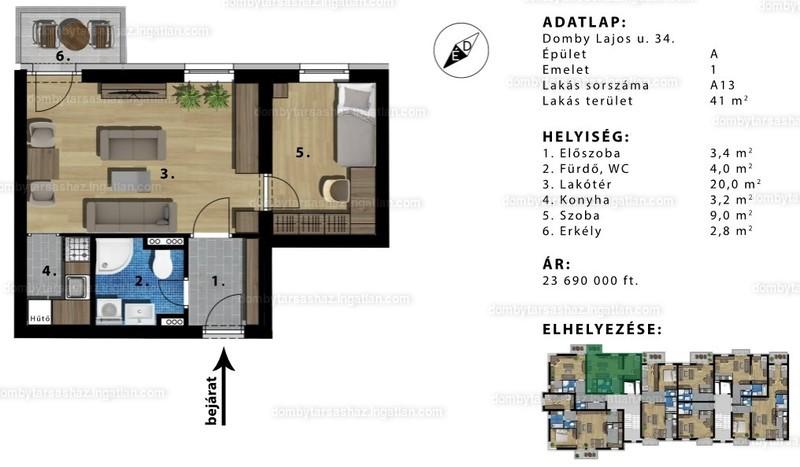 Domby Társasház - 1 szoba erkéllyel