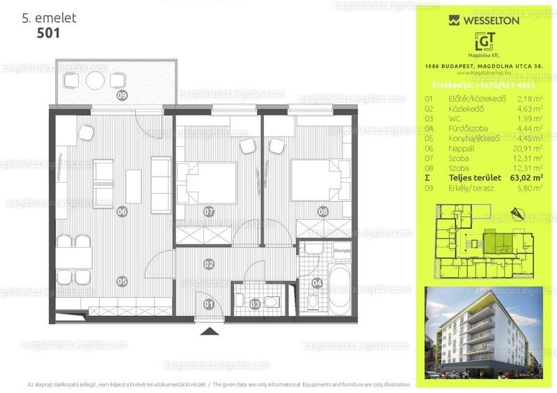 Magdolna ház - 3 szoba erkéllyel