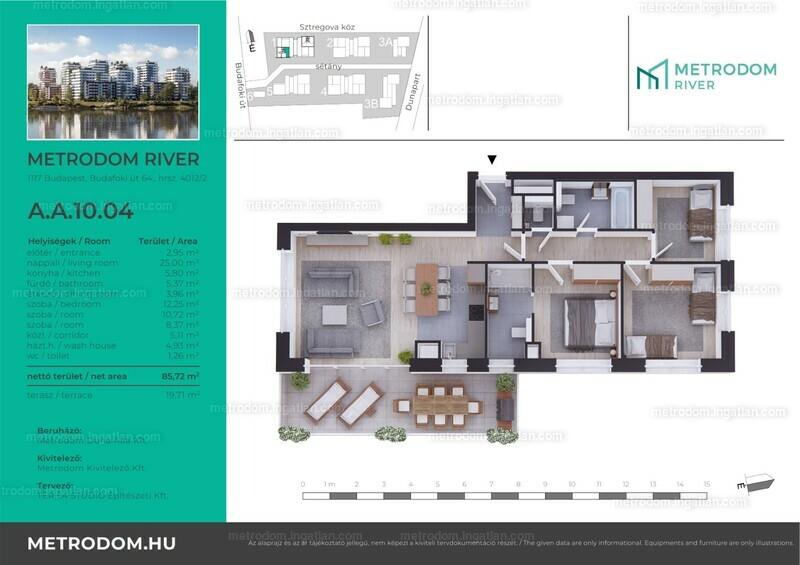 Metrodom River - 3 + 1 szoba erkéllyel
