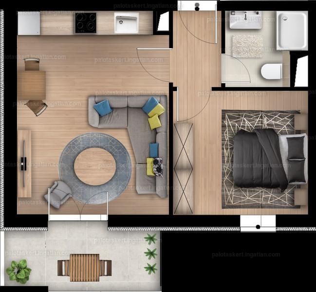 Palotás Kert Lakópark - 1 + 1 szoba erkéllyel