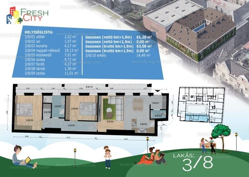Fresh City - 3 szoba erkéllyel