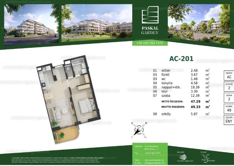Paskal Garden - 2 szoba erkéllyel
