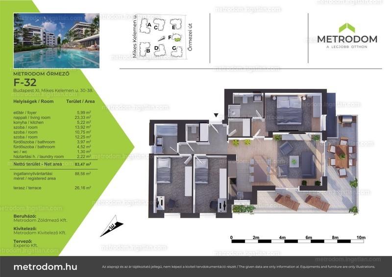 Metrodom Őrmező - 3 + 1 szoba erkéllyel