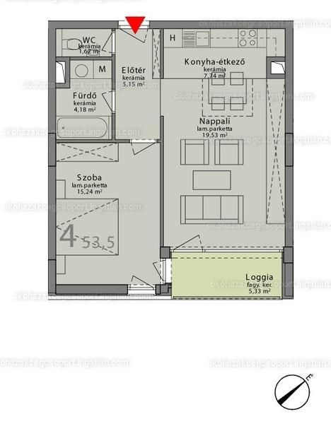 Márton 14A ÖkoHáz - 2 szoba erkéllyel