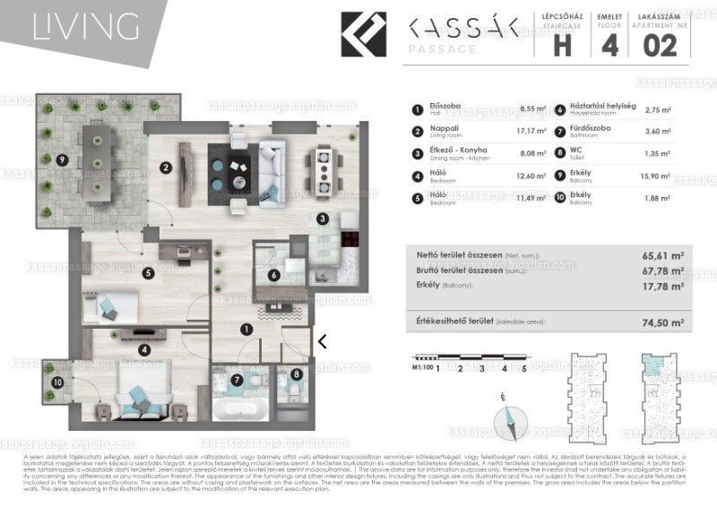 Kassák Passage - 2 + 1 szoba erkéllyel