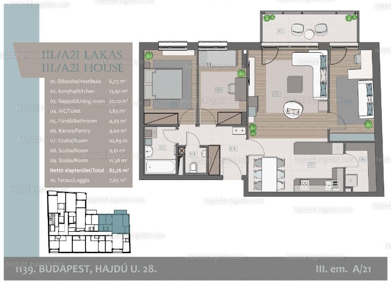 Hajdu28 - 4 szoba erkéllyel
