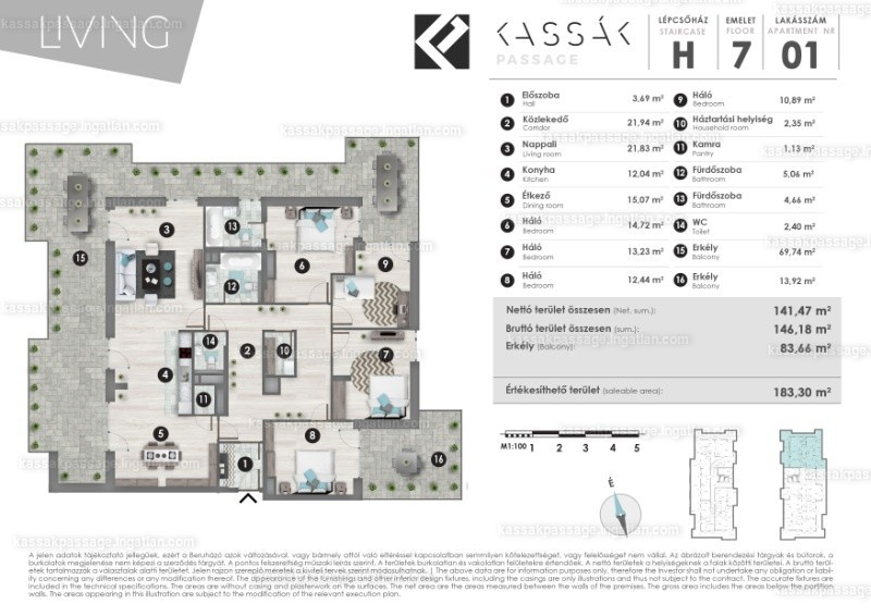 Kassák Passage - 4 + 1 szoba erkéllyel