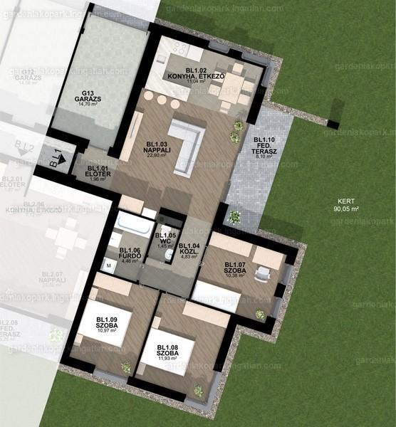 Garden Lakópark - 1 + 3 szoba kertkapcsolattal