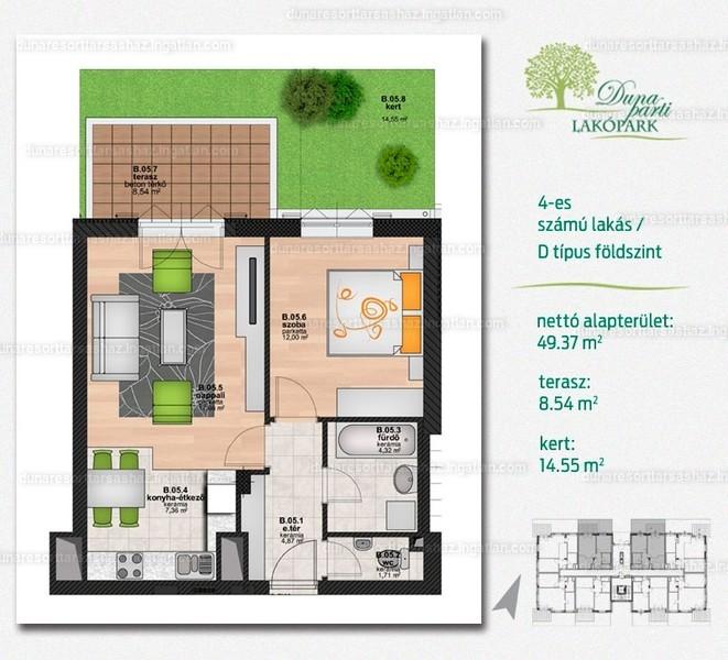 Duna Resort Társasház - 2 szoba kertkapcsolattal