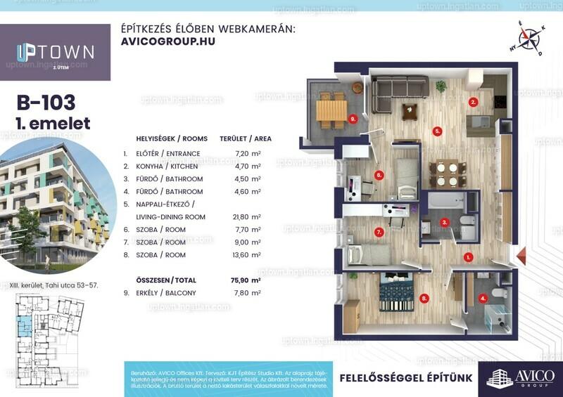 Uptown 2. ütem - 4 szoba erkéllyel