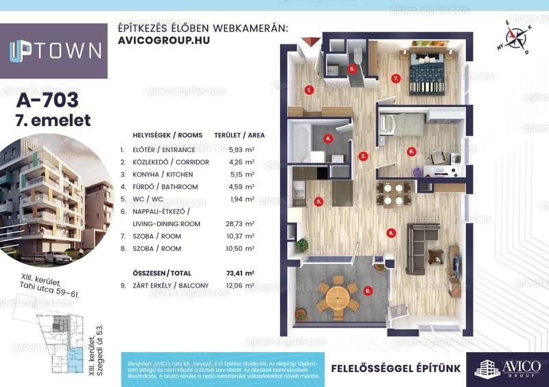 Uptown - 3 szoba erkéllyel
