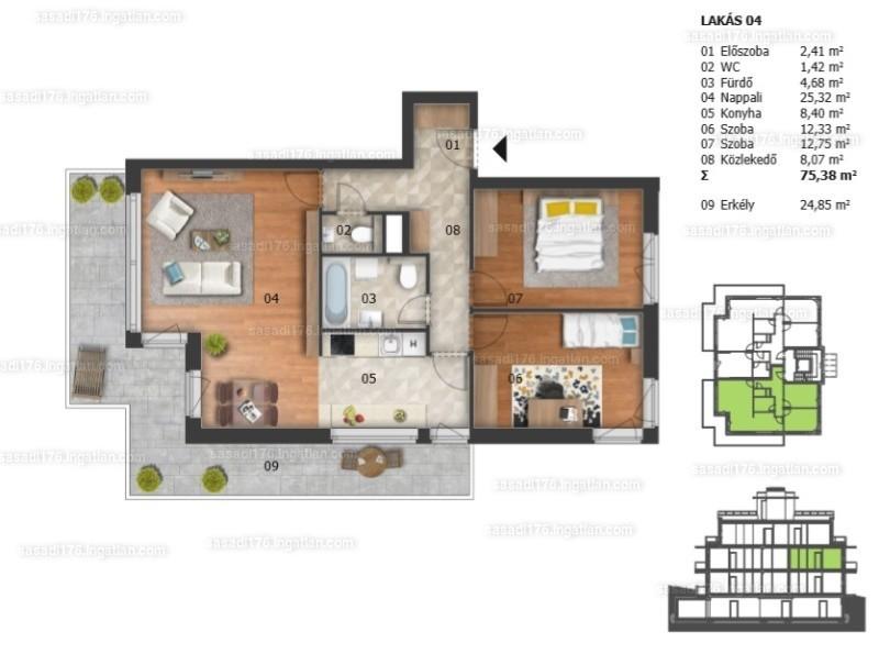 Sasadi176. - 3 szoba erkéllyel