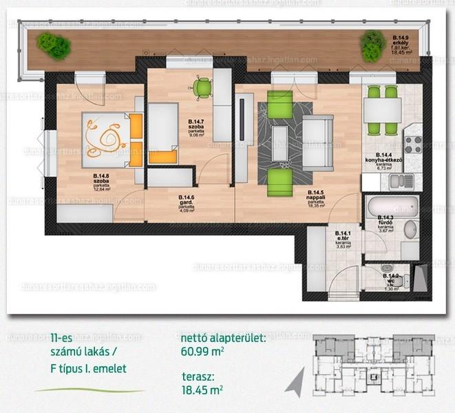 Duna Resort Társasház - 2 + 1 szoba erkéllyel