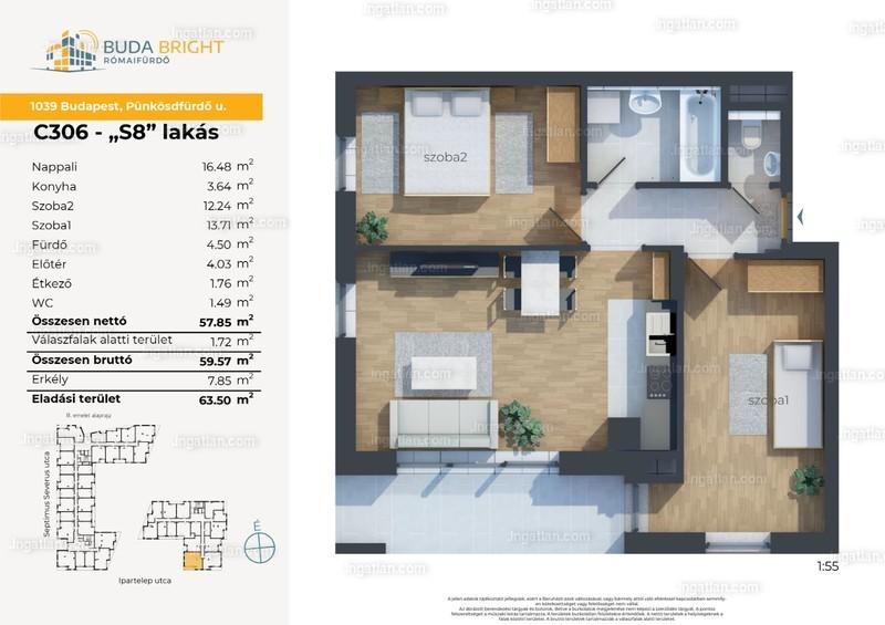 BudaBright Lakópark - 3 szoba erkéllyel