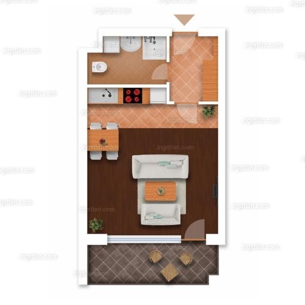 Somfa Liget VII. ütem - 1 szoba erkéllyel