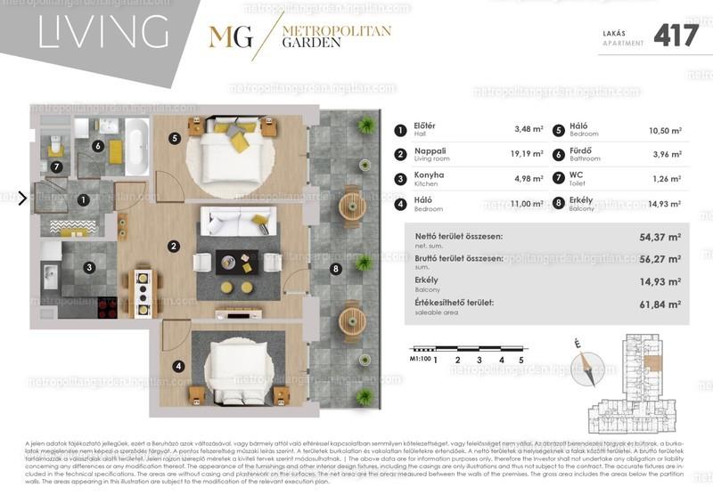 Metropolitan Garden - 3 szoba erkéllyel