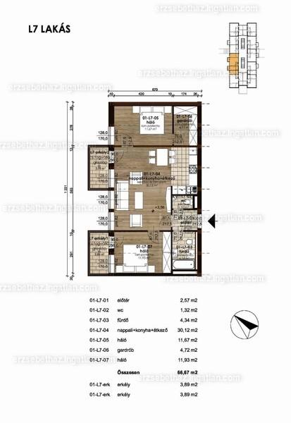 Erzsébetház - 1 + 2 szoba erkéllyel