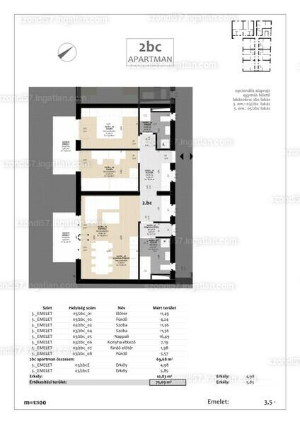 Szondi57 - 3 szoba erkéllyel