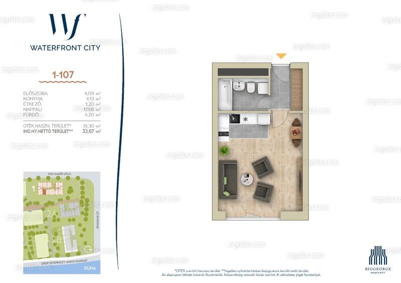 Waterfront City - 1 szoba