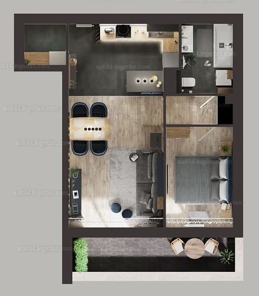Solt 44. - 1 + 1 szoba erkéllyel