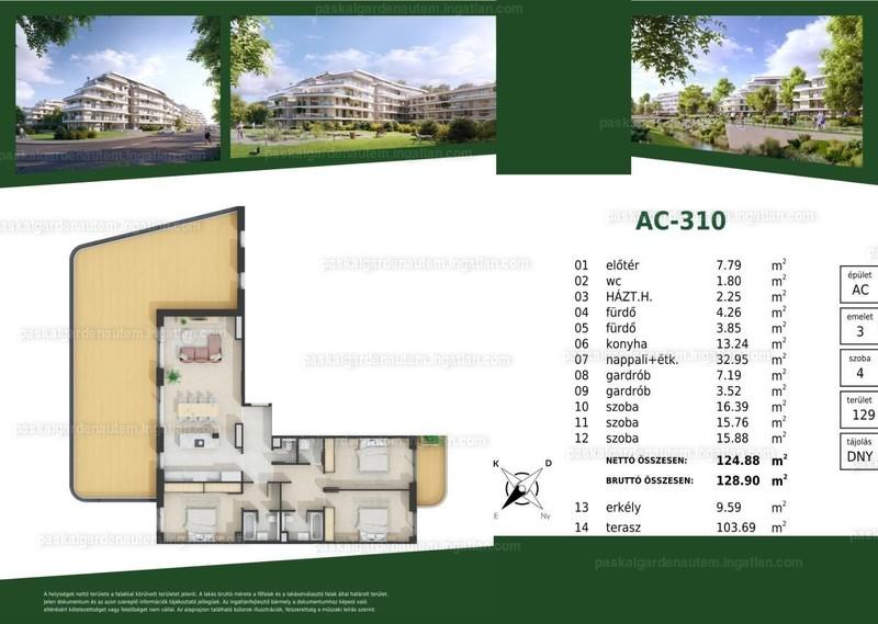 Paskal Garden A.ütem - 4 szoba erkéllyel