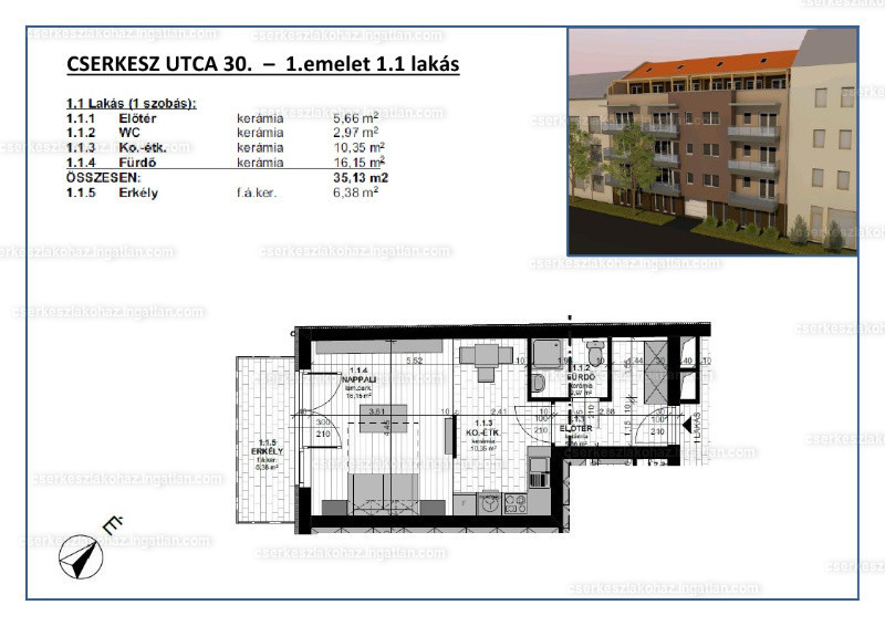 Cserkesz Lakóház - 1 szoba erkéllyel