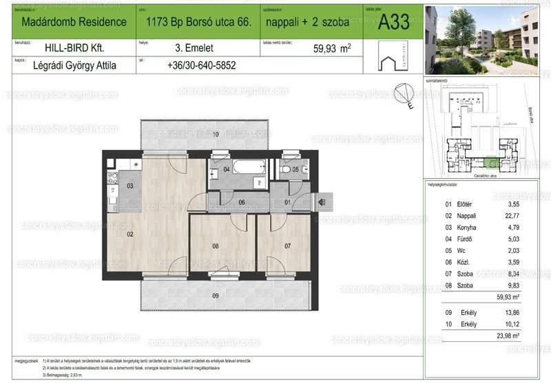 Madárdomb Residence - 3 szoba erkéllyel
